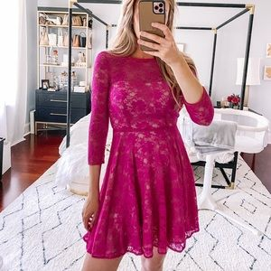 French Connection Hot Pink Lace Mini Dress